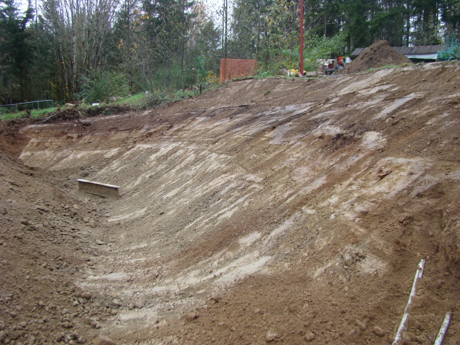 Excavator slope half done