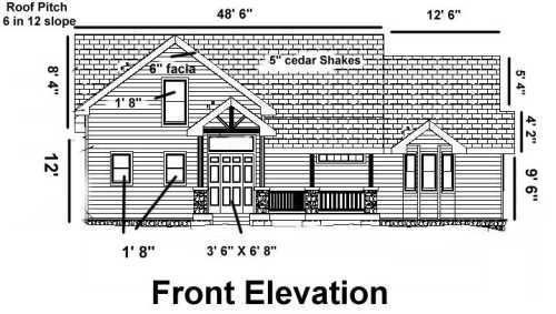 Blueprint example front elevation