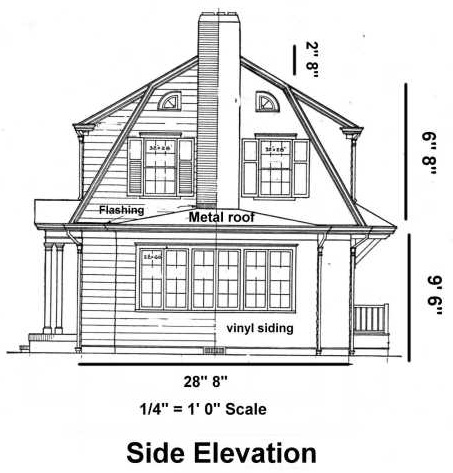Blueprint example side elevation