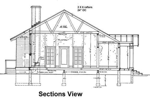 Blueprint example section elevation