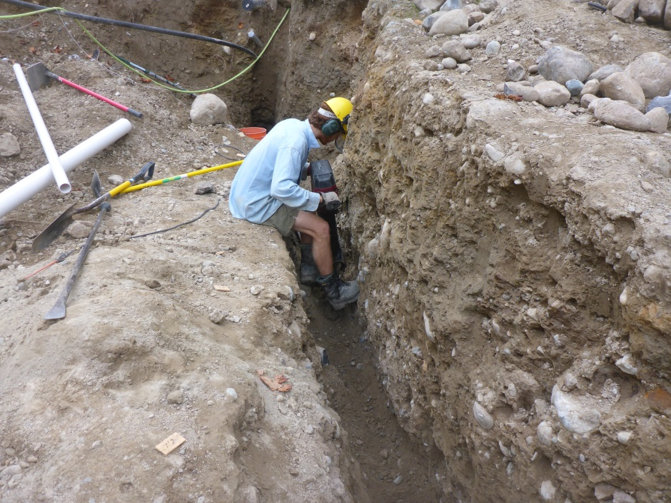 Digging House Drain Ditch With Jackhammer