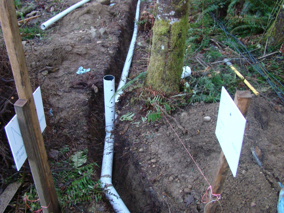 Drainage ditch with perforated pipe
