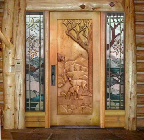Entrance door with bear and deer
