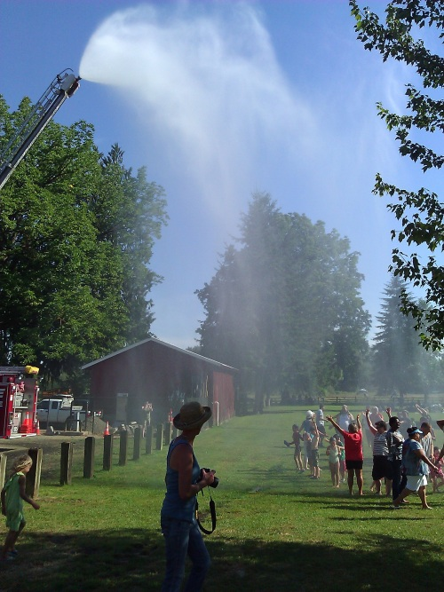 Fire hose in park