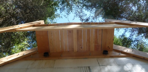 Flat roof planking overhang from underneith