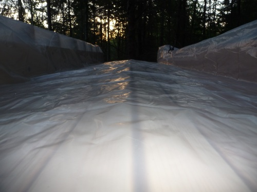 Flat roof covered in plastic