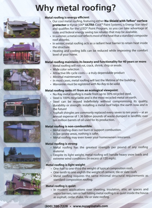 Metal roof Nu-Ray brochure
