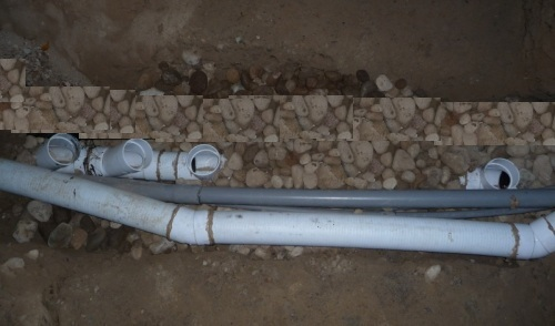 Multiple pipes under slab