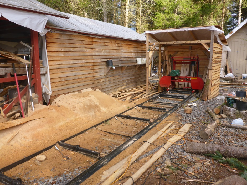 Sawmill in shed