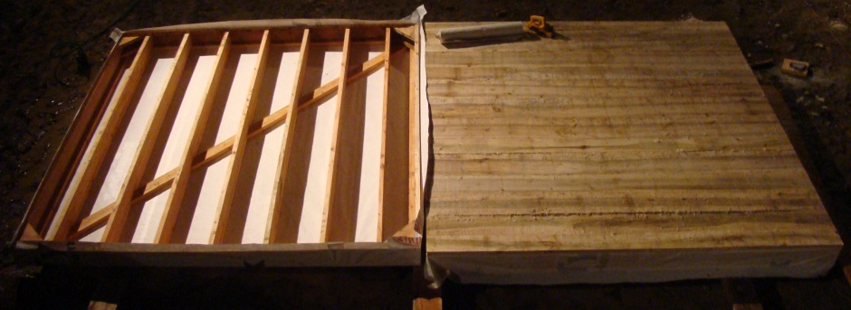 Shed floor boards on one half