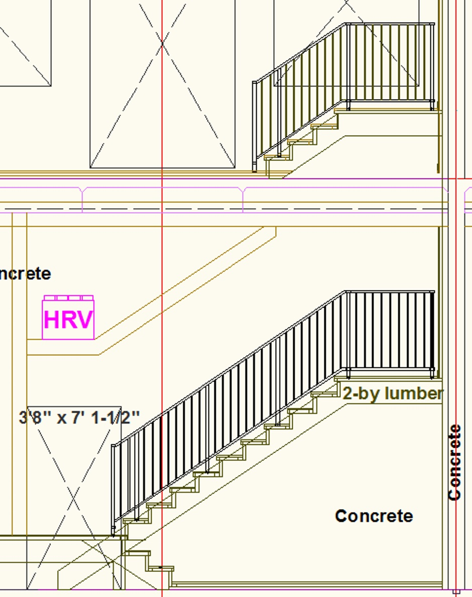 Stair Drawing North Wall