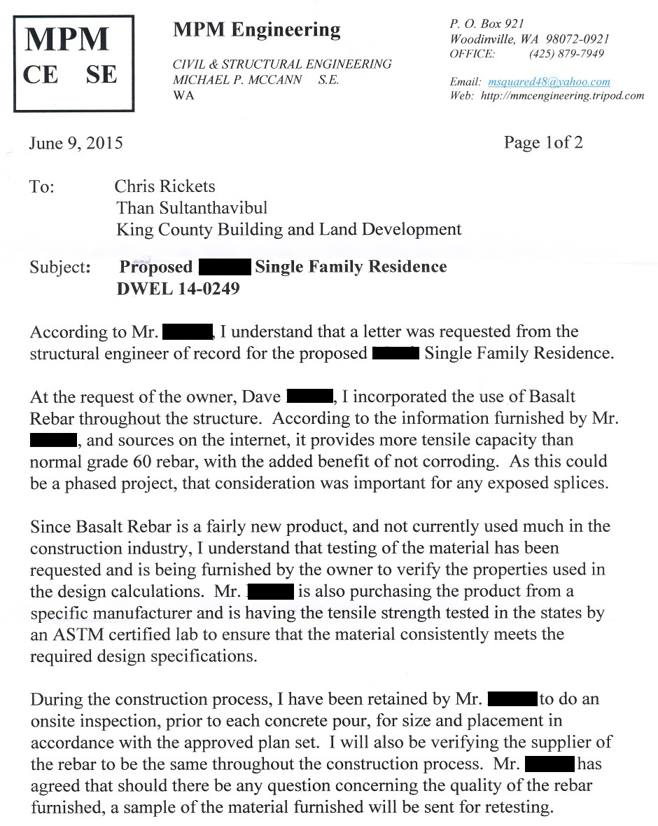 Structural Engineer Letter