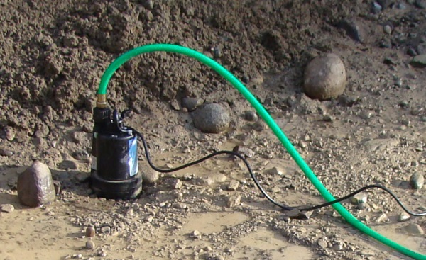 Sump pump in excavation